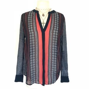 Sanctuary Red Navy Print Silky Sheer Blouse